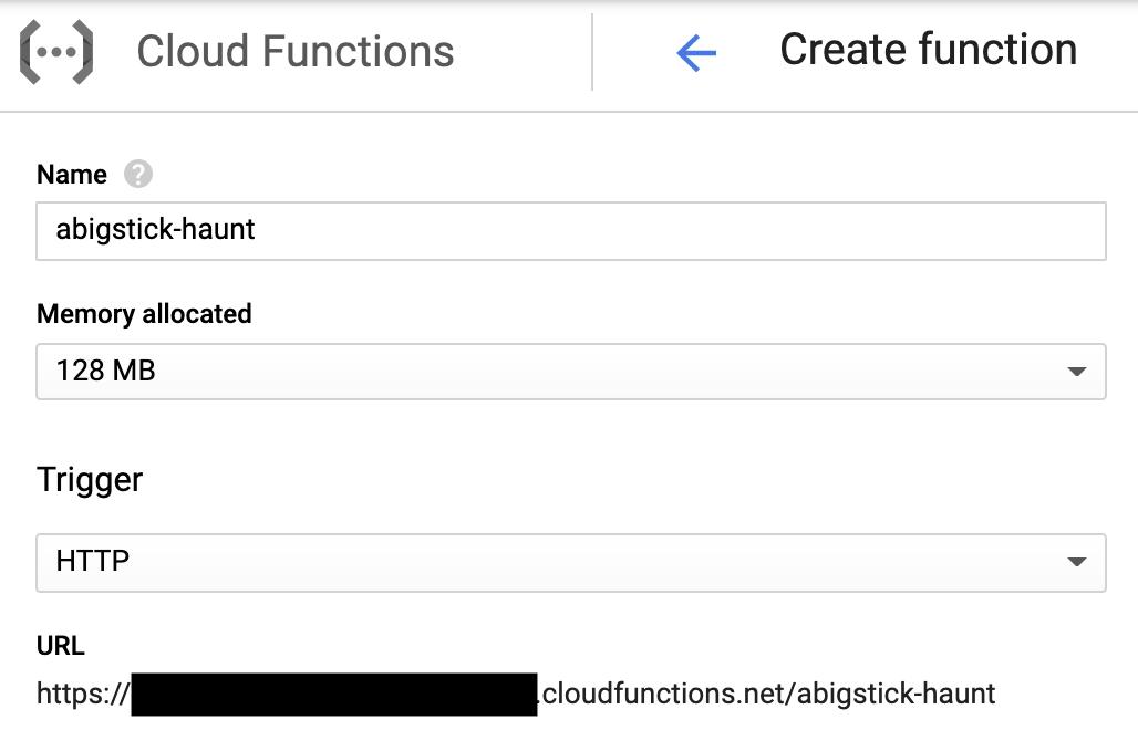 Create cloud function dialog