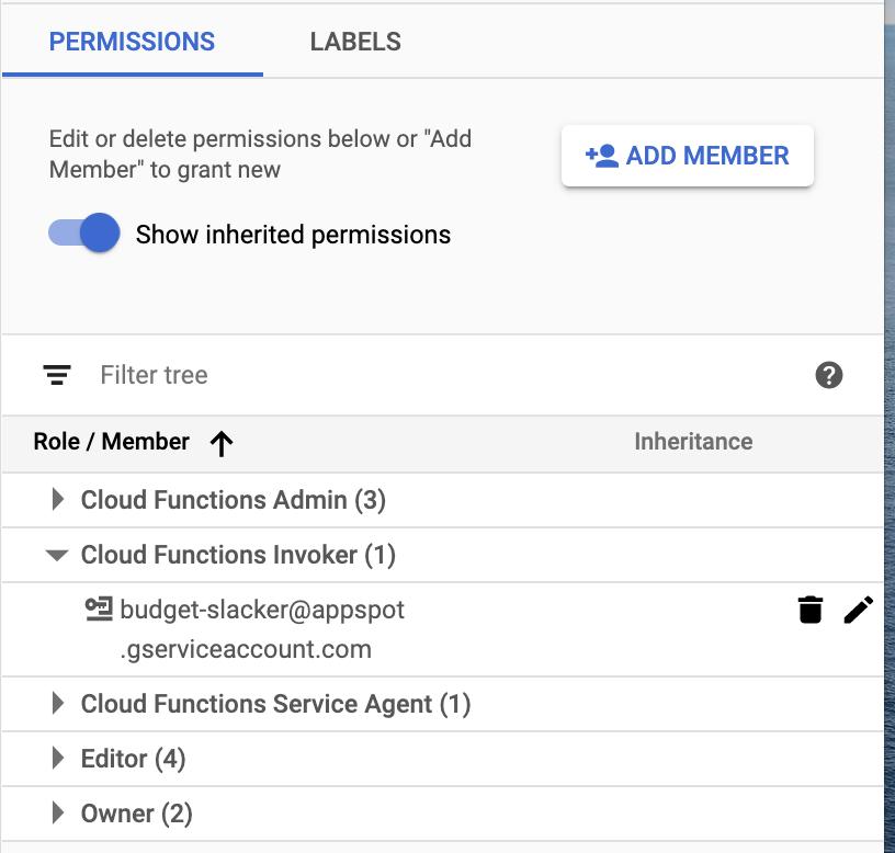 Set Cloud Functions Invoker permissions to member budget-slacker@appspot.gserviceaccount.com